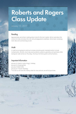 Roberts and Rogers Class Update