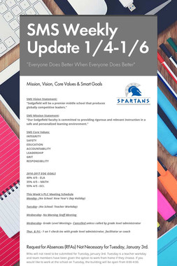 SMS Weekly Update 1/4-1/6