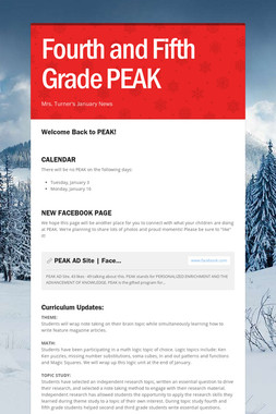 Fourth and Fifth Grade PEAK