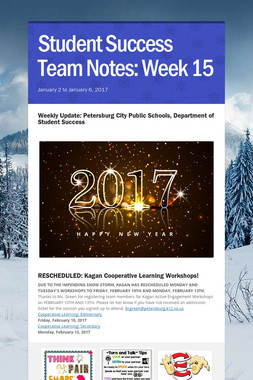 Student Success Team Notes: Week 15