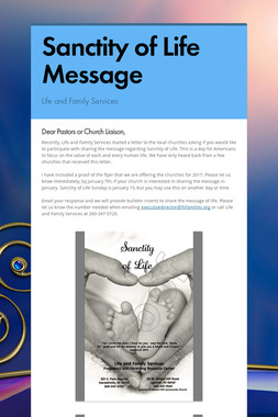 Sanctity of Life Message