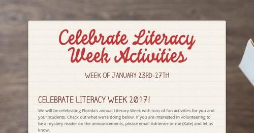 Celebrate Literacy Week Activities Smore Newsletters
