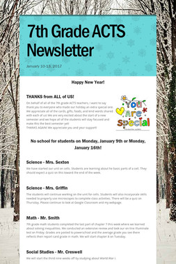 7th Grade ACTS Newsletter