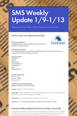 SMS Weekly Update 1/9-1/13
