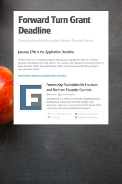 Forward Turn Grant Deadline