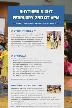 Rhythms Night February 2nd at 6PM