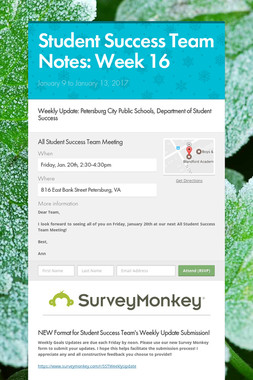Student Success Team Notes: Week 16