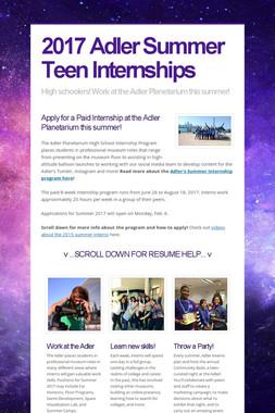 2017 Adler Summer Teen Internships