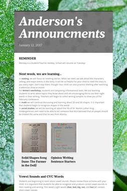 Anderson's Announcments