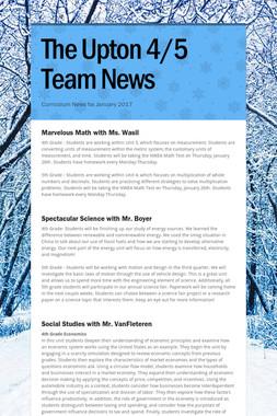 The Upton 4/5 Team News