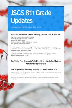 JSGS 8th Grade Updates