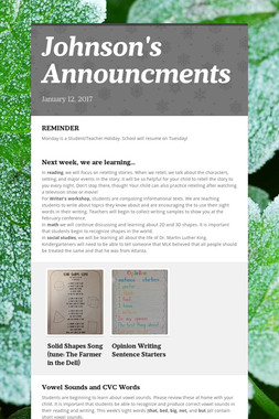 Johnson's Announcments