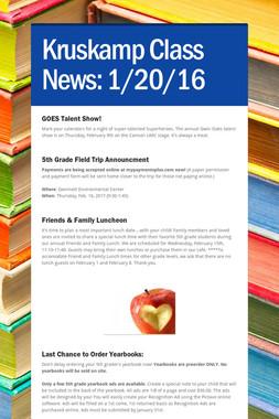 Kruskamp  Class News: 1/20/16