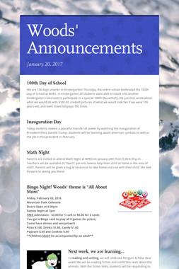 Woods' Announcements