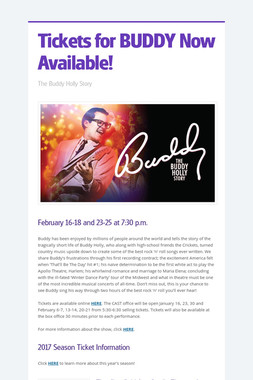 Tickets for BUDDY Now Available!