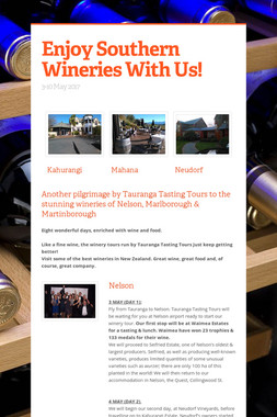 Enjoy Southern Wineries With Us!
