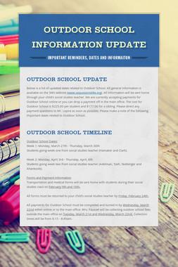 Outdoor School Information Update