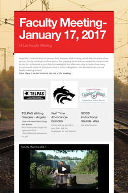 Faculty Meeting- January 17, 2017