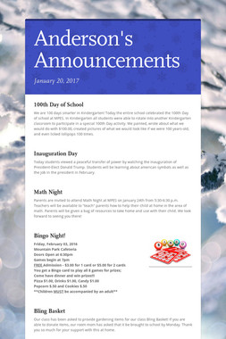 Anderson's Announcements