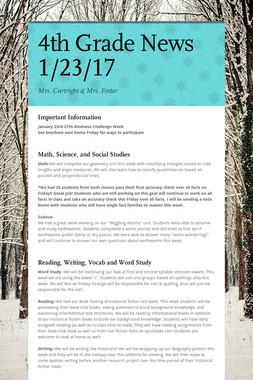 4th Grade News 1/23/17