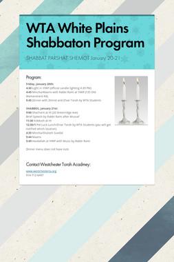 WTA White Plains Shabbaton Program