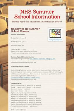 NHS Summer School Information