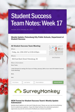 Student Success Team Notes: Week 17