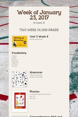 Week of January 23, 2017