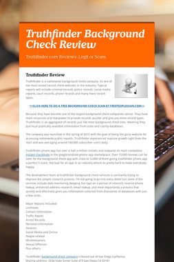 Truthfinder Background Check Review