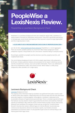 PeopleWise a LexisNexis Review.