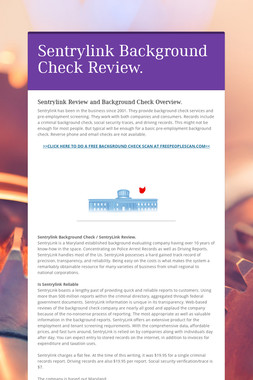 Sentrylink Background Check Review.