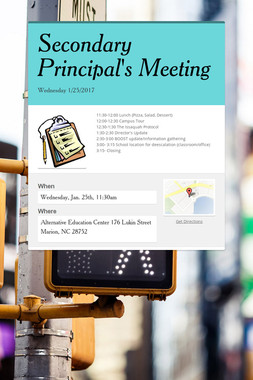 Secondary Principal's Meeting