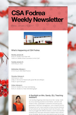 CSA Fodrea Weekly Newsletter