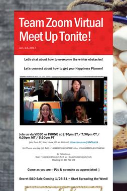 Team Zoom Virtual Meet Up Tonite!