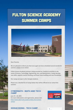 FULTON SCIENCE ACADEMY SUMMER CAMPS