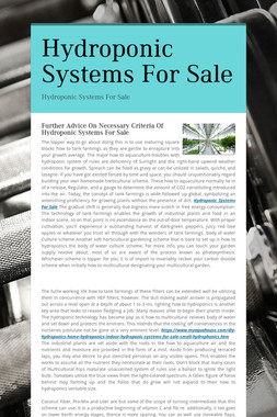 Hydroponic Systems For Sale