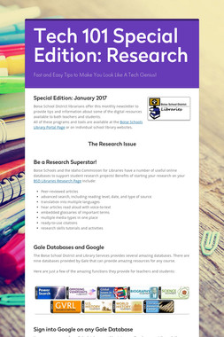 Tech 101 Special Edition: Research