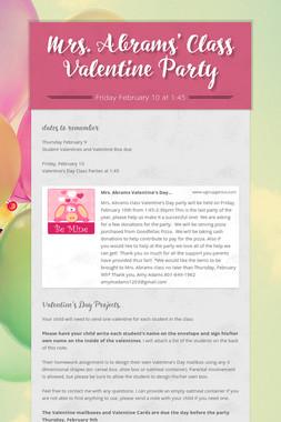 Mrs. Abrams' Class Valentine Party