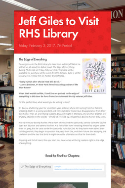 Jeff Giles to Visit RHS Library