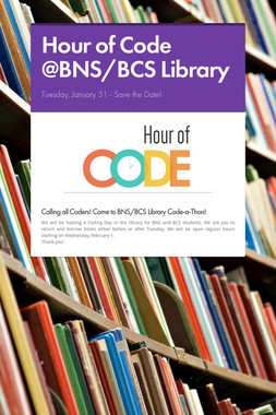 Hour of Code @BNS/BCS Library