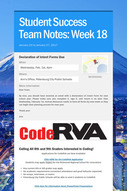 Student Success Team Notes: Week 18