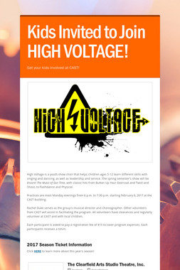 Kids Invited to Join HIGH VOLTAGE!
