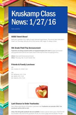 Kruskamp  Class News: 1/27/16