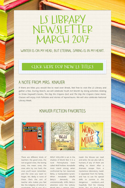LS LIBRARY NEWSLETTER MARCH 2017