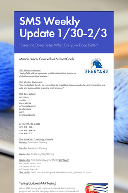 SMS Weekly Update 1/30-2/3