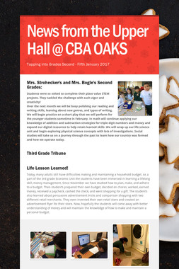 News from the Upper Hall @ CBA OAKS