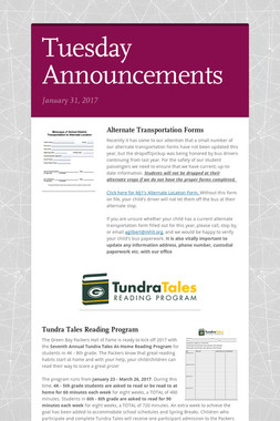 Tuesday Announcements