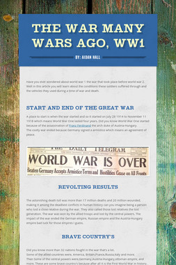 the war many wars ago, WW1