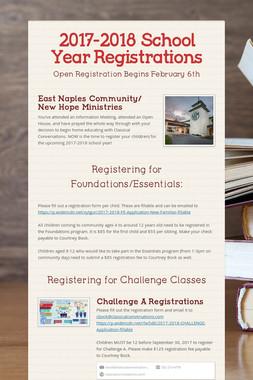 2017-2018 School Year Registrations