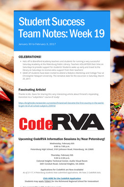 Student Success Team Notes: Week 19
